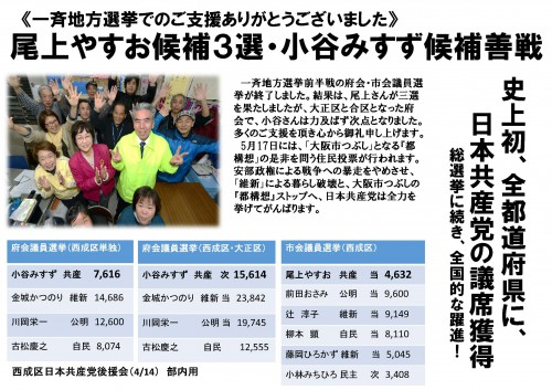 一斉地方選挙でのご支援ありがとう(1)